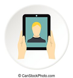 Man taking selfie using tablet icon, flat style
