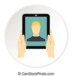 Man taking selfie using tablet icon, flat style