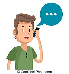 Drawing of man using mobile phone for social network in... clipart ...