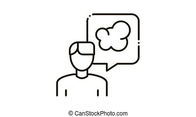 Man Talk Smoke Icon Animation. black Man Talk Smoke animated icon on white background