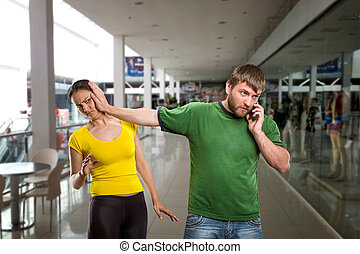 Man talking by mobile phone