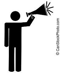man talking into bullhorn or megaphone - stick man or figure...