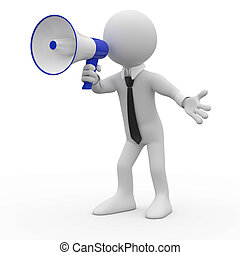 Man talking on a megaphone - Man talking on a white and blue...
