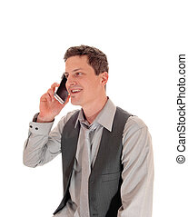 Man talking on cell phone.