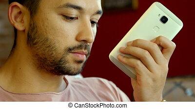 Man talking on mobile phone 4k