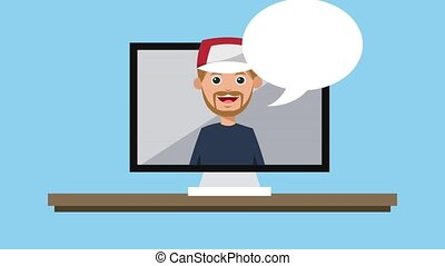 Man talking with blank bubble speech HD animation