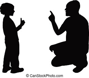 man talking with boy, silhouette vector