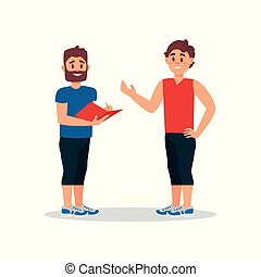 Man talking with personal coach in gym. Fitness instructor writing training plan for young guy. Flat vector illustration