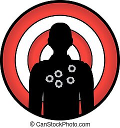 man-target - human silhouette with bullet holes against a...