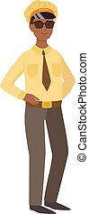 Man Taxi Driver, Part Of Happy People And Their Professions Collection Of Vector Characters