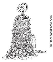 man te klimmen, op, een, menigte van boeekt