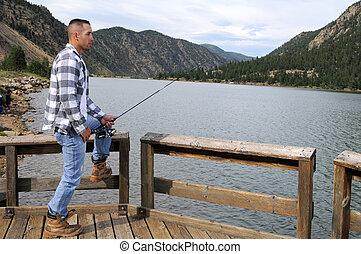 man te vissen, op, de, meer