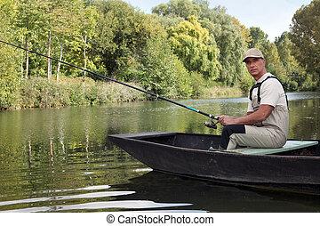 man te vissen, op, een, meer