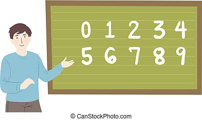 Man Teacher Blackboard Numbers Illustration