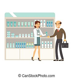 Man Teacher In Pharmacy Choosing And Buying Drugs And Cosmetics, Part Of Set Of Drugstore Scenes With Pharmacists And Clients