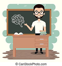 man teacher in the classroom