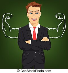 Man teacher, salesman or businessman with chalk healthy strong arm muscles for success