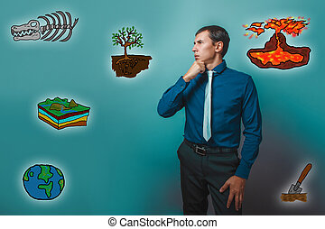 man teacher thinking looking away science geology