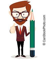 Man-Teacher with a pencils, Stock vector illustration