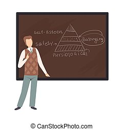 Man teaches a lecture on psychology vector illustration on ...