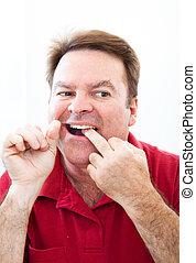 man, teeth, spiegel, flossing