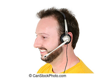 man, telefoon, ongedwongen