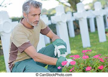Man tending flowers in graveyard