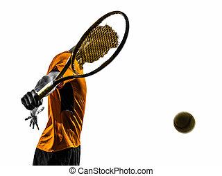 man tennis player portrait silhouette - one man tennis...