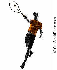 man tennis player silhouette - one man tennis player in...