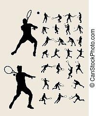 Man Tennis Silhouettes