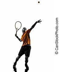 man, tennis spelare, hos, service, tjänande, silhuett