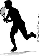 man, tennis, sportende, silhouette, speler