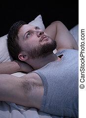 Man that cannot fall asleep