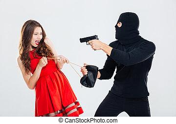 man, theif, hota, med, gevär, och, stöld, ung kvinna, väska
