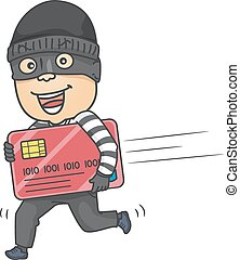 Illustration of a Thief running with Credit Card