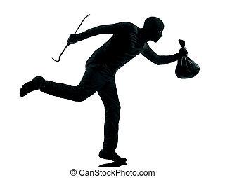 man thief criminal running silhouette - thief criminal...