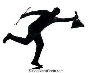 man thief criminal running - thief criminal running in...