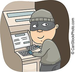 Man Thief Rob - Illustration of a Thief Robbing ATM