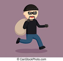 man thief running with sack