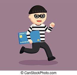 man thief stealing credit card