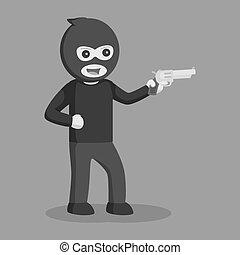 Man thief with handgun