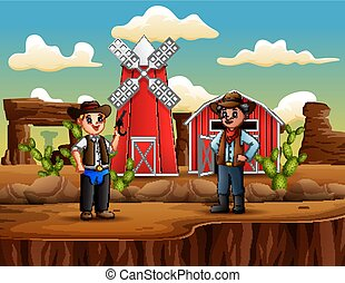Man thieve with cowboy in the wild west landscape