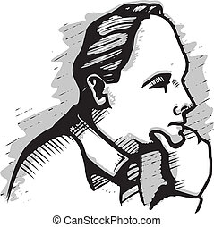Man Thinking - A black and white illustration of a man...