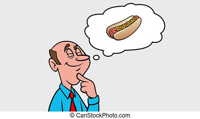 Man thinking about a Hotdog - 4k Animation with Alpha Channel, no background.