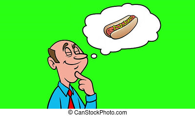 Man thinking about a Hotdog - 4k Animation with Green Background.