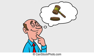 Man thinking about a Lawyer - 4k Animation with Alpha Channel, no background.