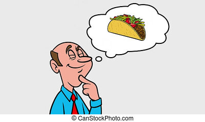 A man thinking about a Taco - 4k Animation with Alpha Channel.