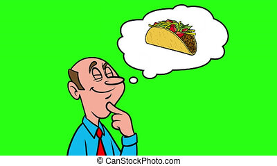A man thinking about a Taco - 4k Animation with Green Background.