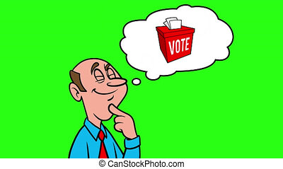 Man thinking about Voter Fraud - 4k Animation with Green Background.