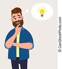 Man thinking for bulb icon or symbol with smile. Idea, innovation or initiation concept in thought bubble. Vector illustration in cartoon style.